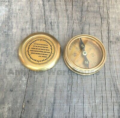 Collectible Brass Antique Solid Brass Working Compass Handmade Marine Compass
