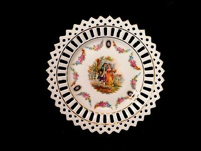 Vintage German Porcelain Reticulated Plate Flowers w Courting Couple Antique