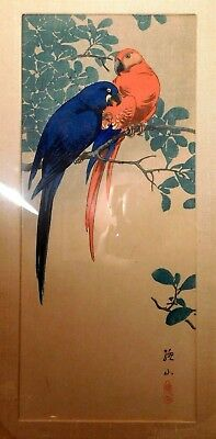 Ito Sozan Ca 1920 Japanese Woodblock Print Blue & Red Macaw Parrot Listed Artist