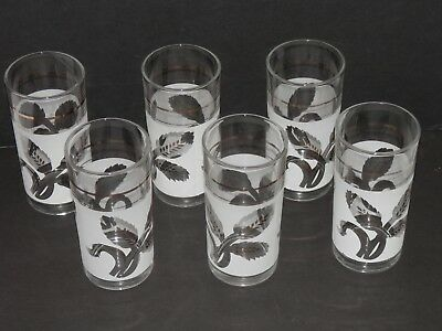 Vintage 8 Ounce Glass Tumblers White & Gold Pattern Made in Italy – Set of Six
