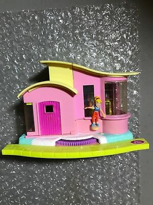 Vintage 2000 Polly Pocket Magic Movin' Video Party House, W 1 FIGURE PINK YELLOW