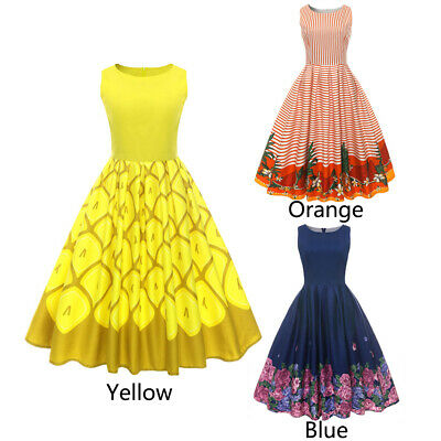 03fe242d0419a 50S SLEEVELESS ROUND Neck Pineapple Floral Print Waist Slimming ...