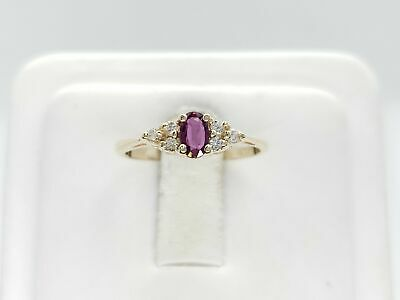 Estate 14k Yellow Gold Natural 0.25 CT Red Oval Ruby Diamond Ring