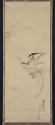 "JAPANESE HANGING SCROLL ART Painting ""Bird and Moon"" Asian antique  #E6492"