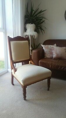Antique Victorian Low Nursing Chair Fireside Bedroom Cream and Duck Egg Blue