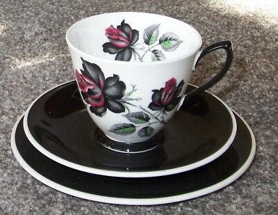 ROYAL ALBERT MASQUERADE TRIO - Cup with Black Saucer & Plate Gothic Dog Rose