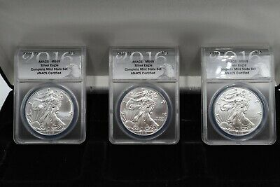 2016 P S & W 3-coin American Silver Eagle ANACS MS69 Complete Mint State Set