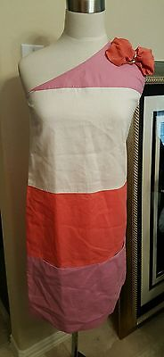 See by Chloe One Shoulder Colorblock Bow Dress Pink Coral White $295 - Size 4