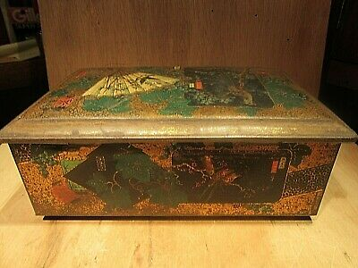 Antique CHINESE TEA TIN 1800'S  WITH BEAUTIFUL DECORATION