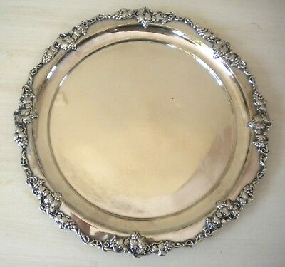 Vintage Round Derby Silver Plate Round Tray Grape and Vine Decoration