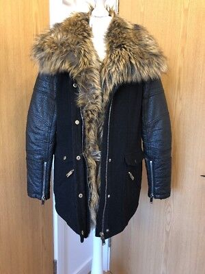River Island Faux Fur and Leather Coat Size 14 Fur Trim Thick Jacket Warm Black