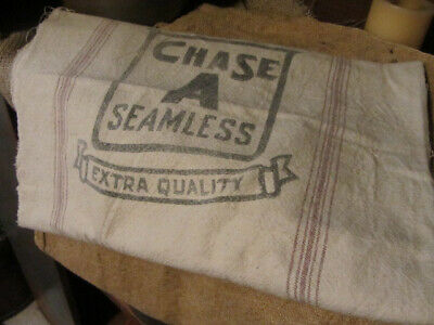 Early Primitive Grain Sack With Name And Brown Stripes