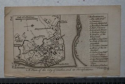 1768 A Plan of the City of Quebec, Canada, with fortifications, by J Gibson