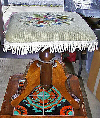 Small Antique Eastlake Floral Needlepoint Swivel Table 17½T x 15 x 14 Inches