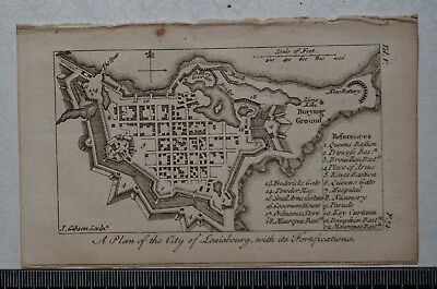1768 A Plan of the City of Louisbourg, Canada, with fortifications, by J Gibson