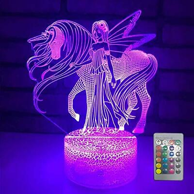 3D Night Light Remote Control USB LED Illusion Desk Lamp for Kids Unicorn Gifts