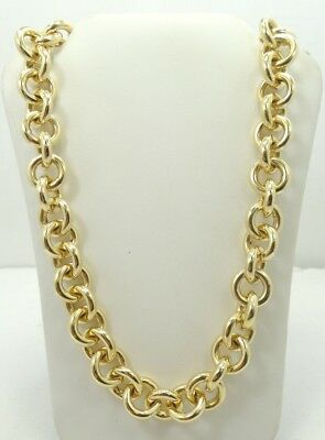 """14K Yellow Gold Puffy rolo Link Chain Necklace 16.5"""" 30.3g A5944"""