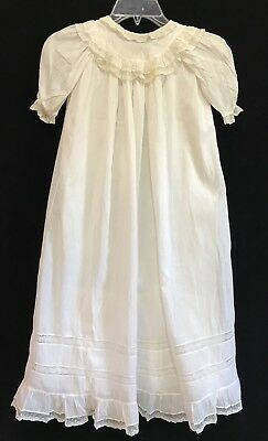 Antique Handmade Christening Gown w/ Lace & Floral Embroidery (RF811)