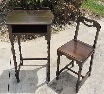 Antique/Vtg Petite Child or Sample Solid Mahogany Turned Writing Desk & Chair