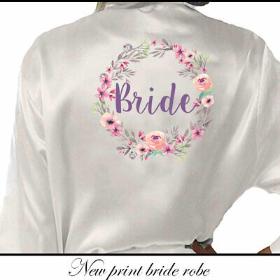 Bridesmaid Bride Wedding Satin Silk Floral Robe Maid of Honor Gown Dressing UK