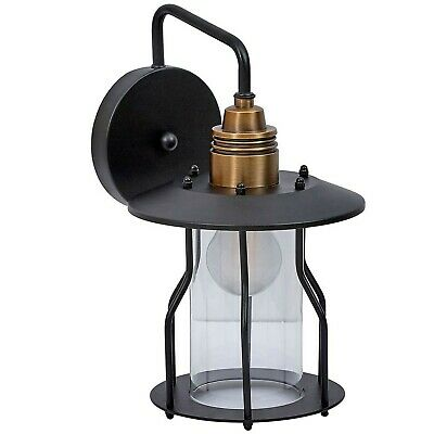 Vintage Wire Caged Glass Outdoor Wall Sconce Light | Exposed Rustic Commercia...