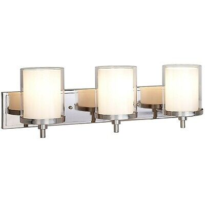 Triple Frosted and Clear Glass Wall Sconce | Polished Nickel LED Fixture | Va...