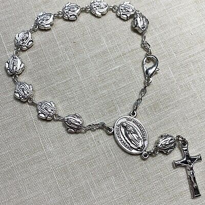 """GUADALUPE DIVINE MERCY ROSARY bracelet made in Poland of Italian parts 7.5"""""""
