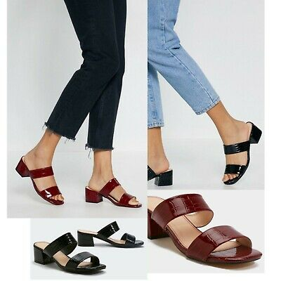 Womens Ladies Open Toe Sliders Mid Block Heel Strappy Summer Sandals Mules Shoes