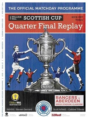 Rangers v Aberdeen 2018/19 Scottish Cup brand new football programme