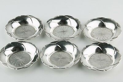 Set of Six (6) Sterling Silver Modernist Floral Butter Pats/Nut Dishes/Bon Bon