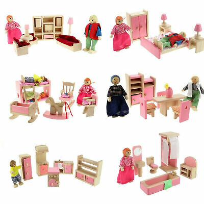 Kids Pink Wooden Furniture Doll House Miniature Room Set Dolls Toys For Gift DIY