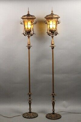 Antique Pair Of 1920's Torchieres With Glass Shades and Original Finish (11708)
