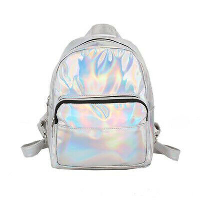 aa02a2a9d3 Women Backpack Hologram PU Leather Bag Travel Shoulders Solid Adjustable  Strap