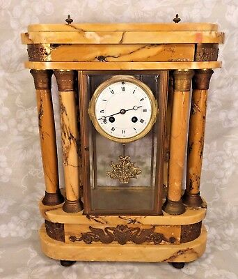 Samuel Marti Clock w/ Bronze Curved Embossed Plates Marble Case w/ Columns Runs!