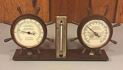 Vintage Weather Station Swift & Anderson Boston MA Ships Wheel Design Hygrometer