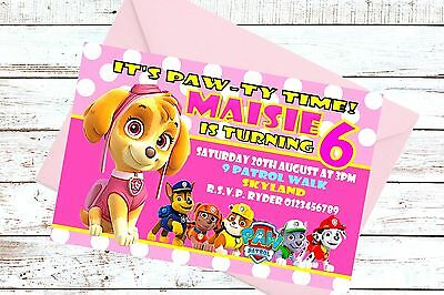 Paw Patrol Skye Personalised Birthday Invitation Invites For Girls X 10