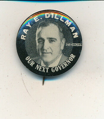 "1936 Ray Dillman for governor 1"" Utah UT campaign button"