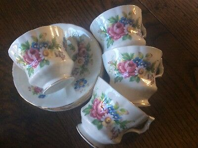 Vintage Royal Windsor  English bone china 3 tea cups saucers