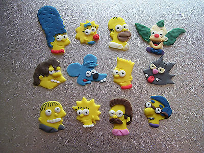 THE SIMPSONS set of 12 edible cake decorations cupcake toppers