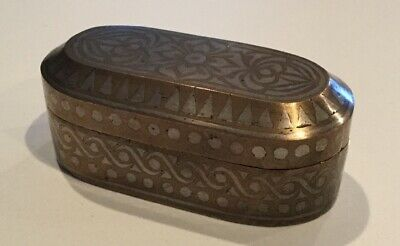 Antique Islamic Philippines Bronze Betel Nut Box With Silver Inlay