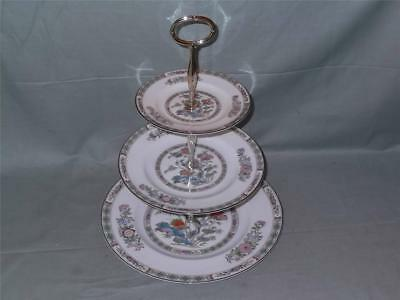 Wedgwood Kutani Crane Bone China 3-Tier Hostess Cake Plate Stand (Worn Plates)