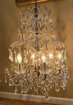 Antique French Italian Crystal Macaroni Beaded Waterfall Cascading Chandelier