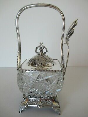 Gorgeous antique silver plate and cut glass condiment castor - Rogers & Brother