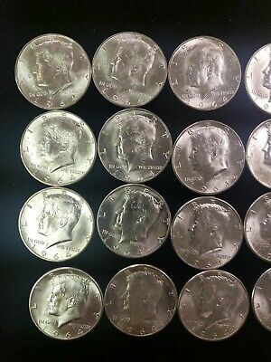 Lot of 20, 1964 BU Kennedy Half dollars 90% Silver $10 face