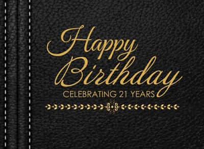 Happy Birthday Celebrating 21 Years: 21st Guest Book, Black  PAPERBACK NEW BOOK