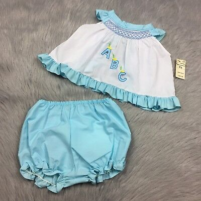Vintage Baby Girls Blue White ABC Swing Top Bloomers Set