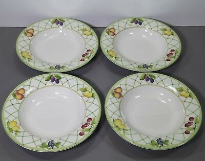 "Four Fruit Rapture Large Rimmed Soup Bowls 9 18"" - Mikasa"