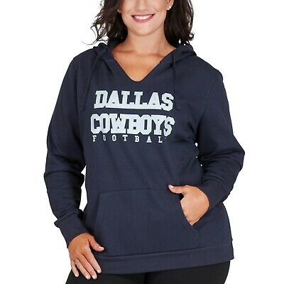 Dallas Cowboys Women's Plus Size Glitter Pullover Hoodie - Navy NFL 4XL