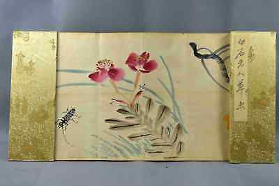 Ancient Collectable Famous BaiShi Qi Hand-Paint Flower & Insect Painting Book