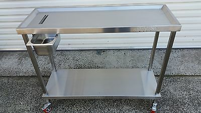 Florist Trolley Bench Cart Steel SS304 Waste pan Easy replace PU Castors bolted